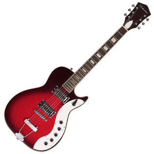 Silvertone 1423 Electric Guitar + SubZero Tube-20R Pack, Red Burst