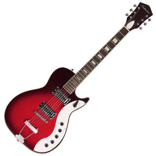 Silvertone 1423 Electric Guitar + SubZero Tube-20R Pack, Red Burst