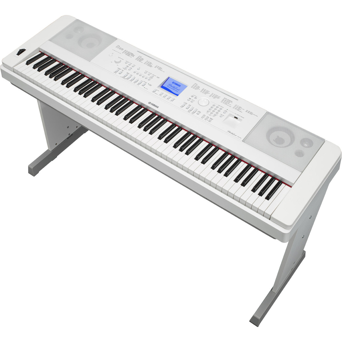 Yamaha dgx660 digital piano with stand white at for White yamaha piano