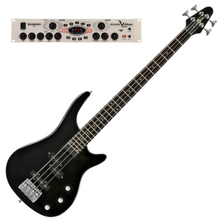 Miami Bass Guitar by Gear4music, Black with Behringer Bass V-Amp Pro