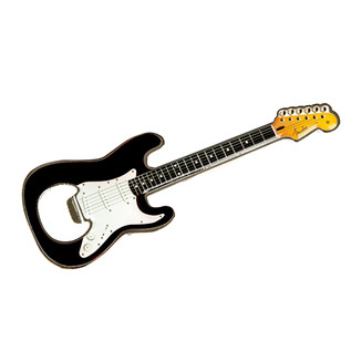 Fender Stratocaster Bottle Opener Magnet, Black