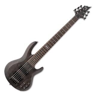 ESP LTD B-206SM 6 String Bass Guitar, See Thru Black Satin