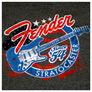 Fender Patriotic Stars 'n' Stripes Stratocaster T-Shirt, Grey, Large