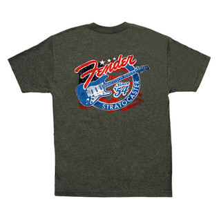 Fender Patriotic Stars 'n' Stripes Stratocaster T-Shirt, Grey, XL