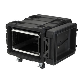 SKB 24'' Deep 6U Roto Shockmount Rack Case - Angled Open
