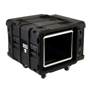SKB 24'' Deep 8U Roto Shockmount Rack Case - Angled Open