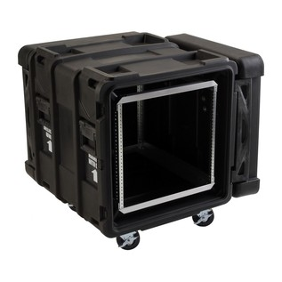 SKB 24'' Deep 10U Roto Shockmount Rack Case - Angled Open