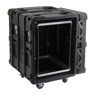 SKB 24'' Deep 14U Roto Shockmount Rack Case - Angled Open