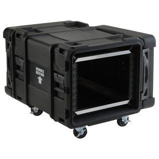 SKB 28'' Deep 8U Roto Moulded Shock Rack Case - Angled Open