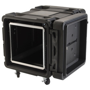 SKB 30'' Deep 10U Roto Moulded Shock Rack Case - Angled Open 2