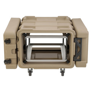 SKB 24'' Deep 6U Roto Shockmount Rack Case, Tan - Front Open