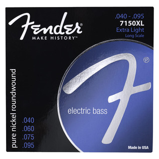 Fender 7150XL Pure Nickel Roundwound Bass Guitar Strings, 40-95