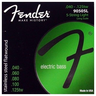 Fender 90505L Stainless Steel Flatwound Bass Guitar Strings, 40-125tw