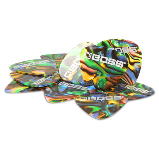 BOSS Celluloid Pick Medium 12 Pack, Abalone - Pack