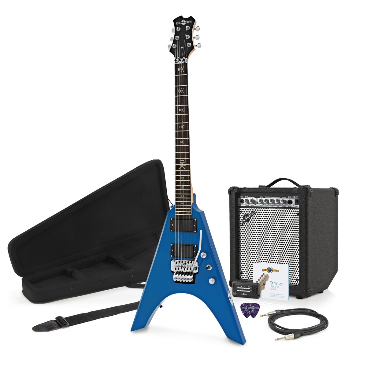 houston electric guitar complete pack blue. Black Bedroom Furniture Sets. Home Design Ideas
