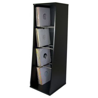 Sefour Vinyl Storage Unit for 500 Records, Black - Front (Records Not Included)