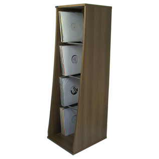 Sefour Vinyl Storage Unit for 500 Records, Tobacco Walnut - Front (Records Not Included)