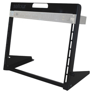 Sefour Carry Rack 8U, Black - Angled With Gear (Equipment Not Included)