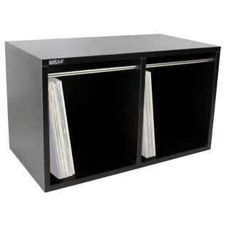 Sefour Vinyl Carry Box to Hold 240 Records, Black - Angled 2