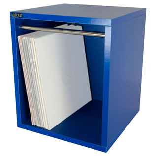 Sefour Vinyl Carry Box to Hold 115 Records, Bass Blue - Front