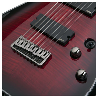 Schecter Damien Elite-8 Electric Guitar, Crimson Red Burst