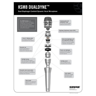 Shure KSM8 Dualdyne Dual Diaphragm Dynamic Microphone, Nickel Bundle