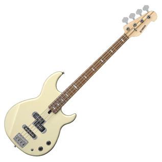 Yamaha BB1024 4-String Bass Guitar, Vintage White - Angled