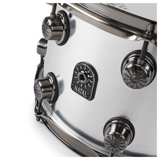 Natal Aluminium 13x8 Snare Drum w/ Brushed Nickel HW angle