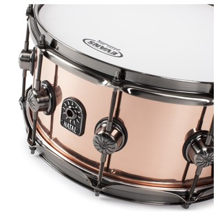 Natal 100% Copper 14x6.5 Snare Drum w/ Brushed Nickel HW angle