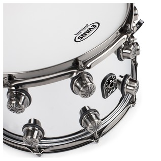 Natal Steel 14x8 Snare Drum w/ Brushed Nickel HW angle
