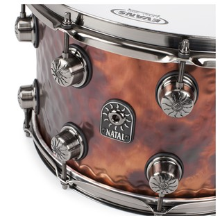 Natal Steel Hammered 14x8 Snare Drum w/ Brushed Nickel HW angle