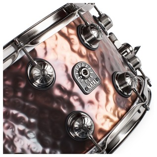 Natal Steel Hammered 14x8 Snare Drum w/ Brushed Nickel HW angle 2