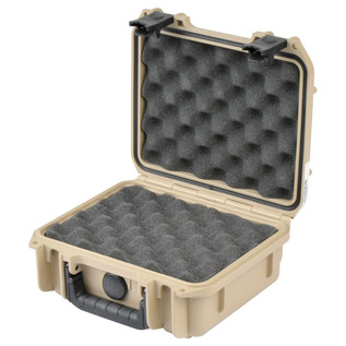 SKB iSeries 0907-4 Waterproof Case (With Layered Foam), Tan- Angled Open