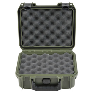 SKB iSeries 0907-4 Waterproof Case (With Layered Foam), Olive Drap - Front Open