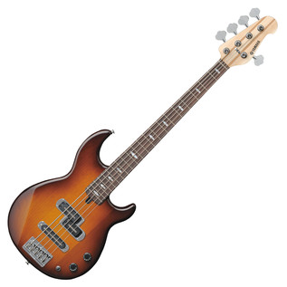 Yamaha BB1025 5-String Bass Guitar, Tobacco Brown Sunburst - Front Angled