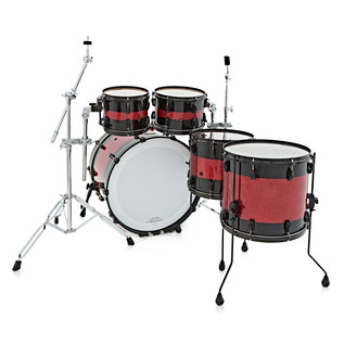 Pearl Masterworks 5pc Shell Pack, Black W/ Red Sparkle Inlay, Ex Demo