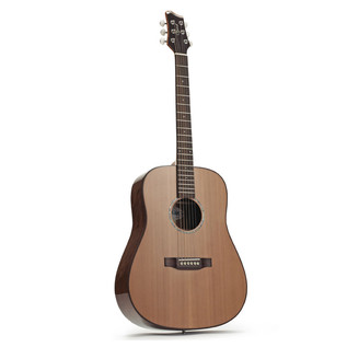 Ozark D Model Acoustic Folk Guitar, Natural and Free Accessories