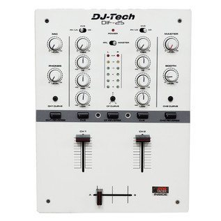 DJ Tech DIF-2S 2-Channel DJ Scratch Mixer, White