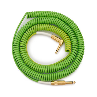 Lava Cable Morph Coil Angled Instrument Cable 25ft, Green to Blue