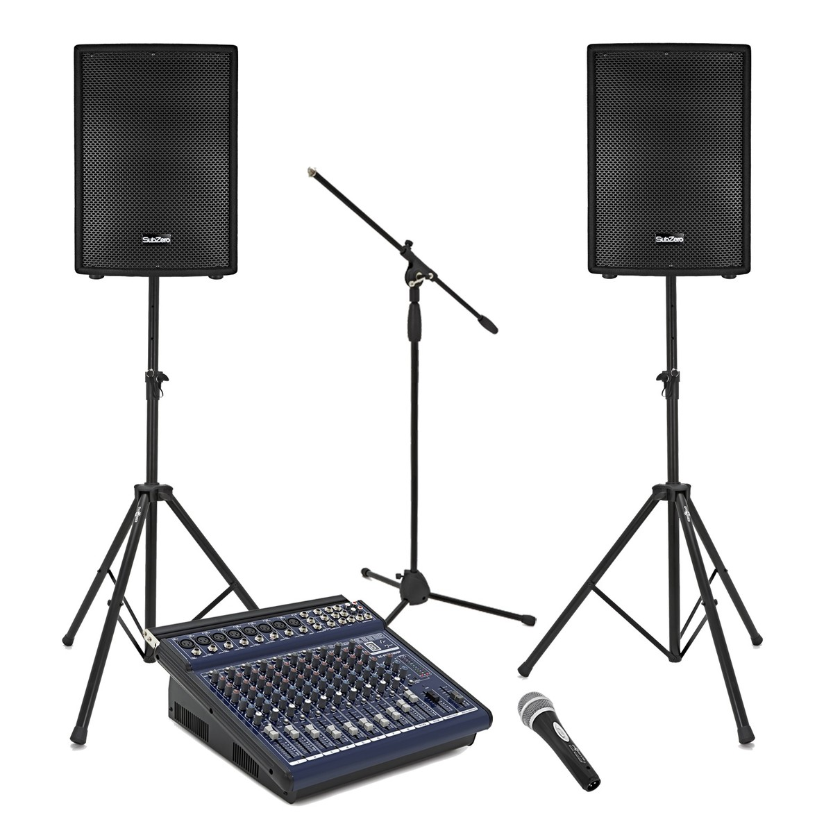 Image of 600W 15 Passive PA System with Powered Mixer Mic and Stands""
