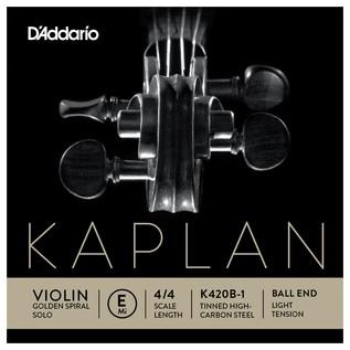 Daddario Kaplan Golden Spiral Solo Violin E String, Ball End, Light