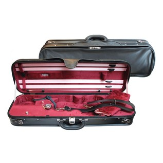Negri Milano Leather Violin Case in Black and Burgundy
