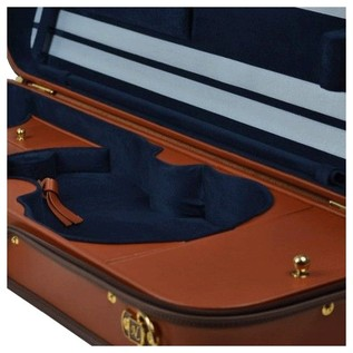 Negri Diplomat Tuscan Leather Violin Case in Cognac and Royal Blue