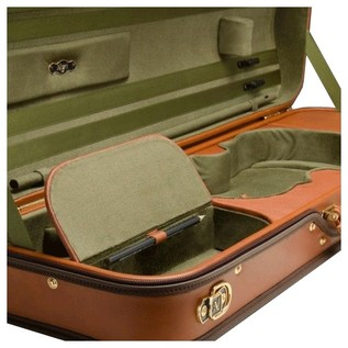 Negri Diplomat Tuscan Leather Violin Case in Cognac and Olive Green