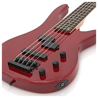 Lexington 5 String Bass Guitar by Gear4music, Trans Red