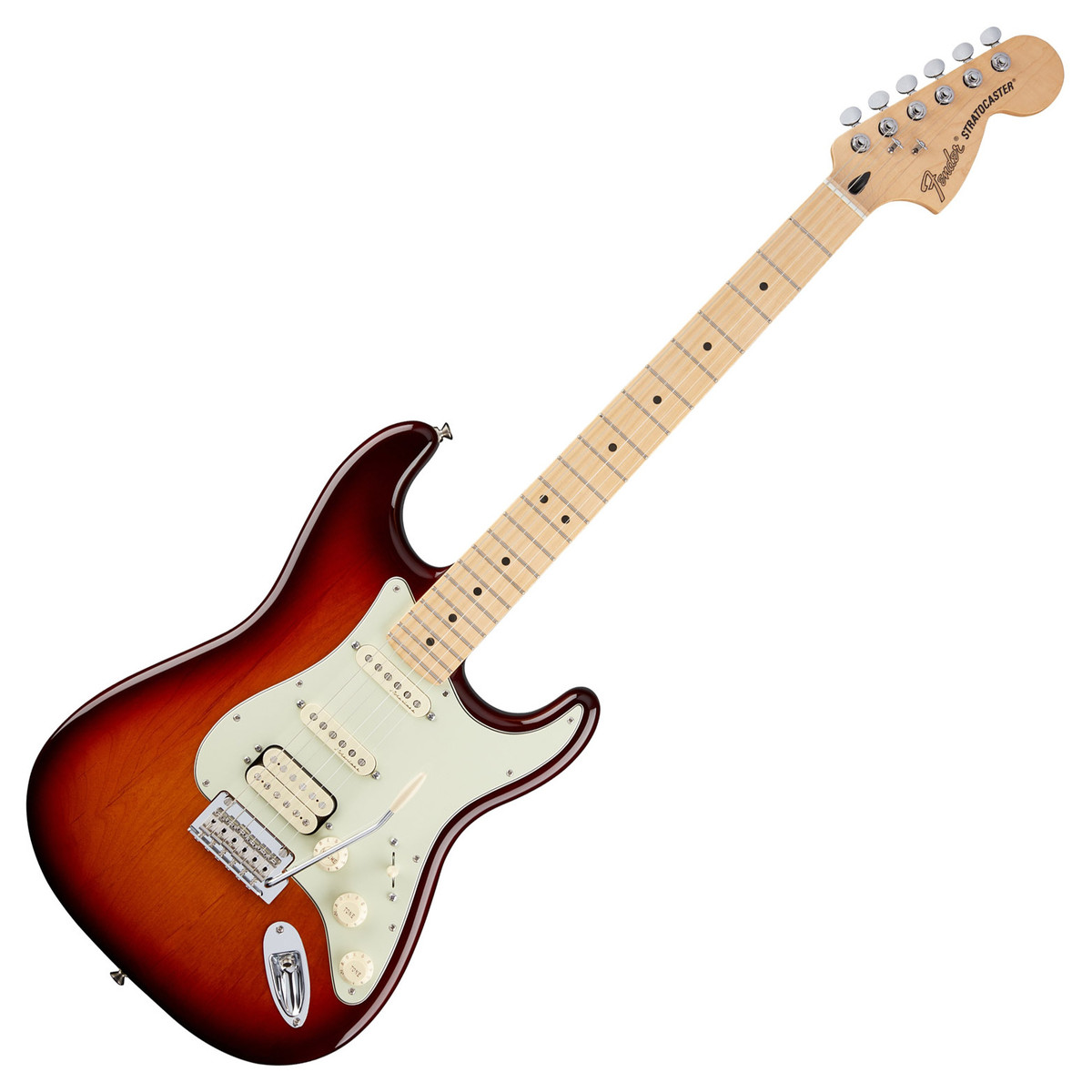 fender deluxe stratocaster hss electric guitar tobacco sunburst at. Black Bedroom Furniture Sets. Home Design Ideas