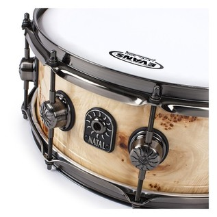 Natal Mappa Burl 14x7 Snare Drum, Brushed Nickel HW, Natural Gloss
