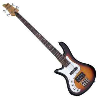 Schecter Stiletto Vintage-4 Left Handed Bass Guitar, 3-Tone Sunburst