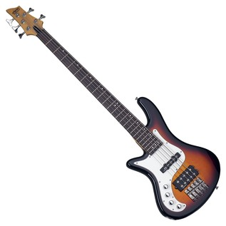 Schecter Stiletto Vintage-5 Left Handed Bass Guitar, 3-Tone Sunburst