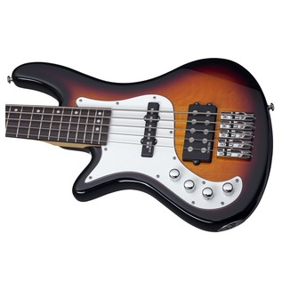 Schecter Stiletto Vintage-5 Left Handed Bass Guitar, Sunburst